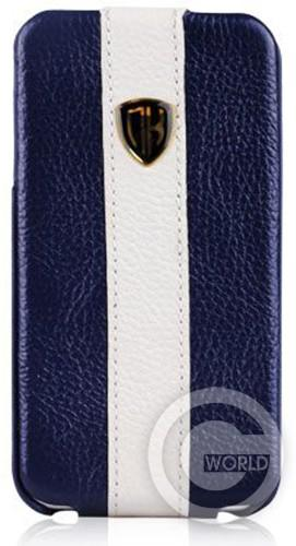 Купить чехол Nuoku genuine leather case with stripe для iPhone 4/4S, blue