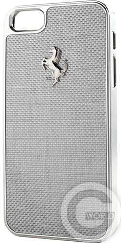 Чехол Ferrari Carbon cover case for iPhone 5/5S white with silver frame