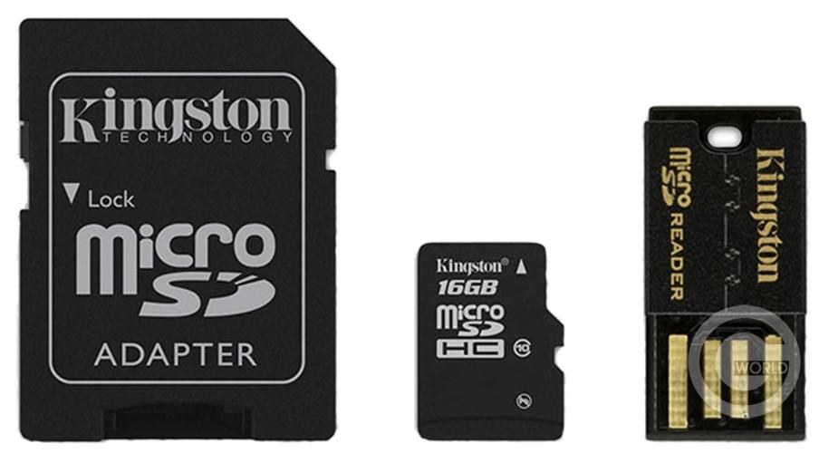 Карта памяти KINGSTON microSDHC 16Gb class 10+adapter+cart rider